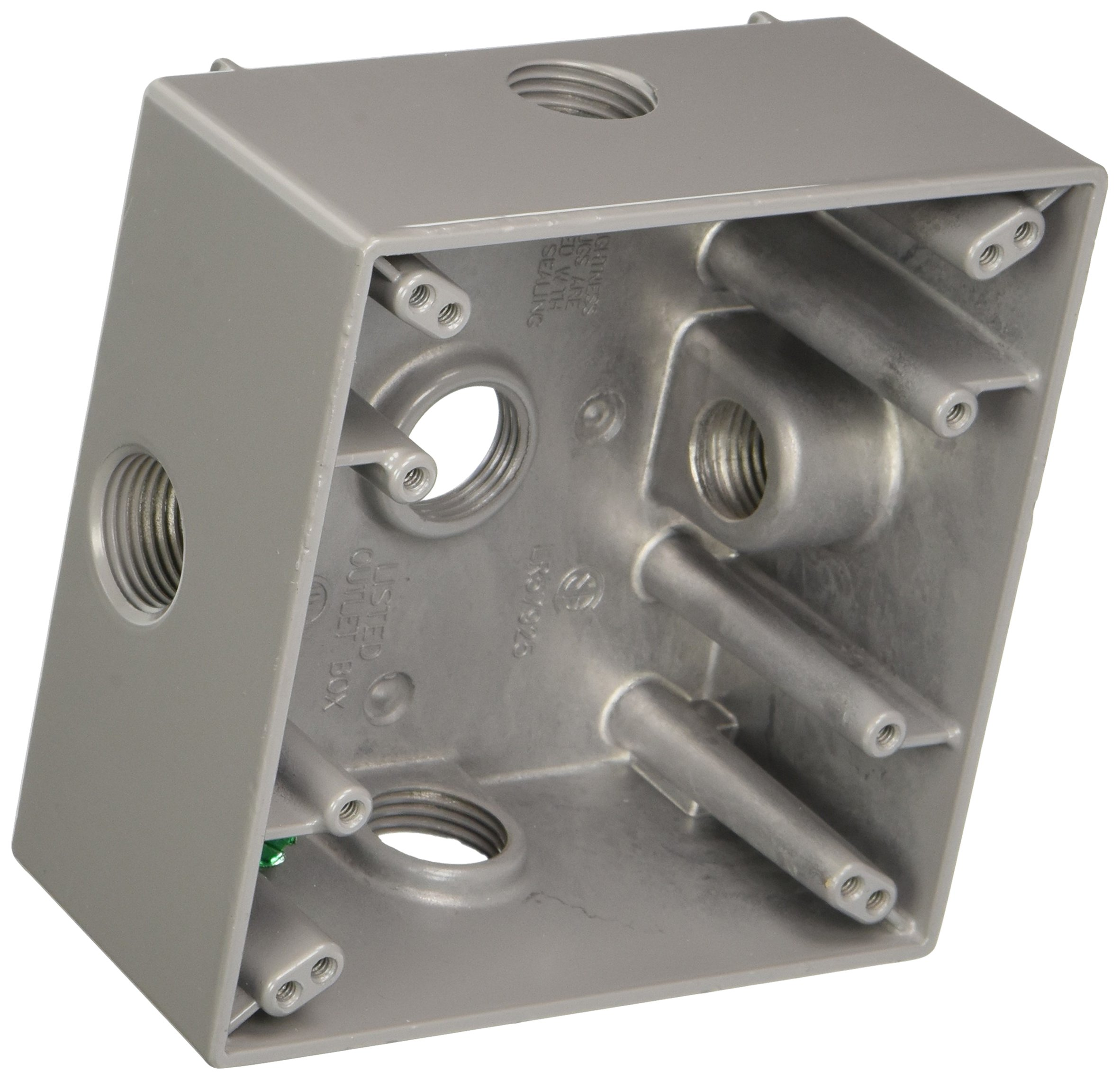 Hubbell-Bell 5334-0 2-Inch Deep 2-Gang 5 Outlet 32 Cubic Inch Weatherproof Box, Gray