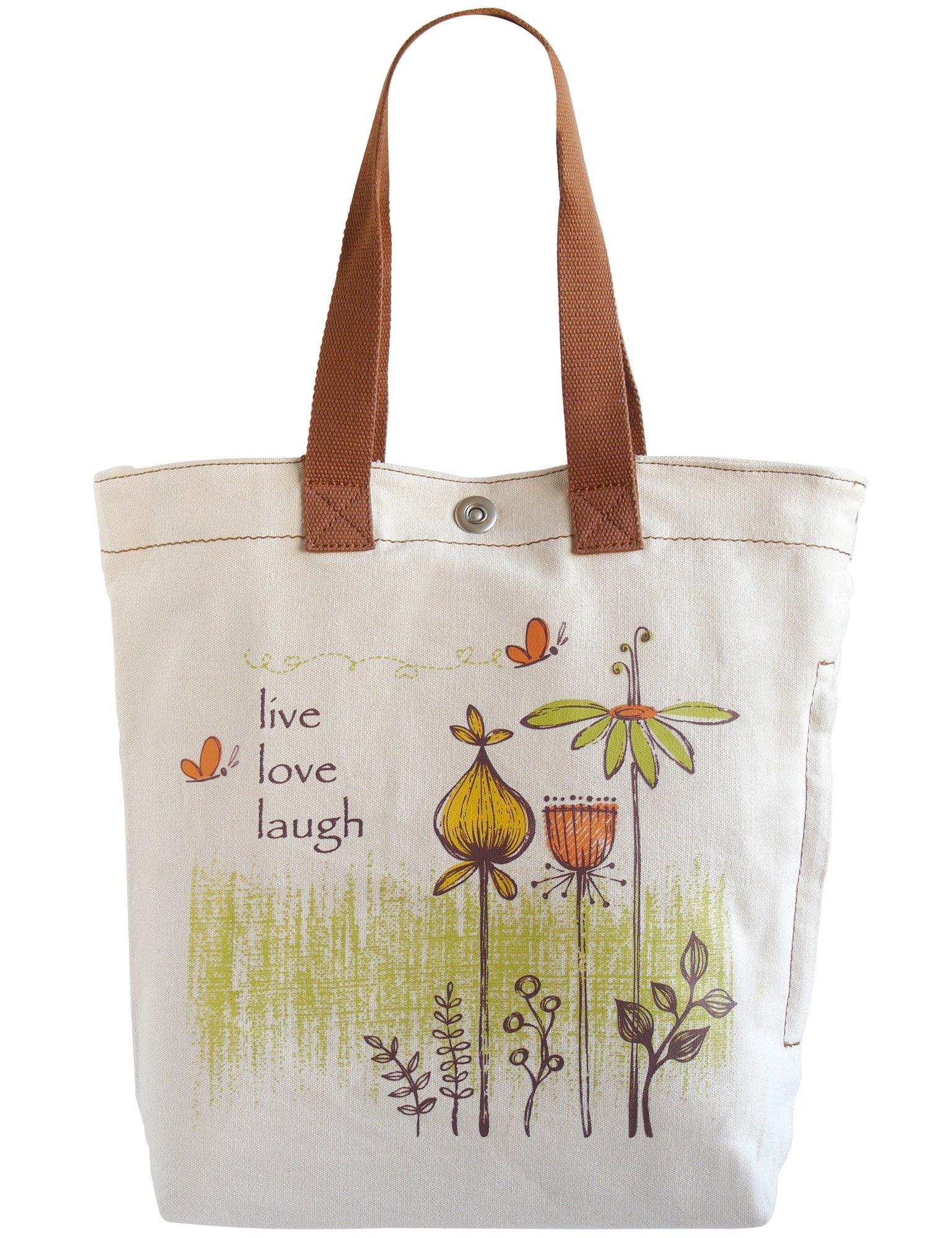 HOP Multi Pocket Live Love Laugh Canvas Bag, Heavy Duty Canvas Tote Bag