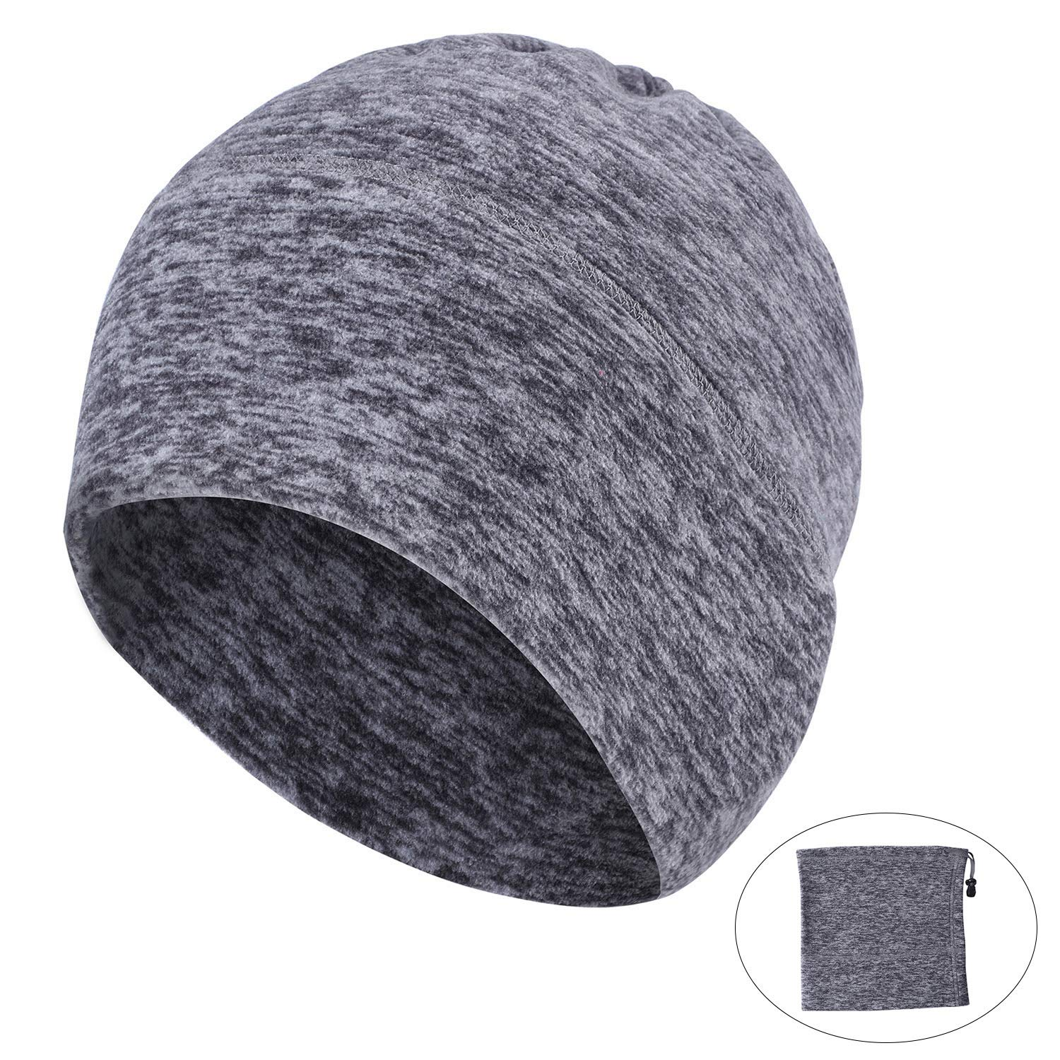 AYPOW Winter Fleece Neck Warmer, Unisex Warm Face Mask Scarf Neck Warmers Thermal Beanie Balaclava Hood for Cycling/Snowboarding/ Skiing/Running (Grey Color) - with Adjustable Strap
