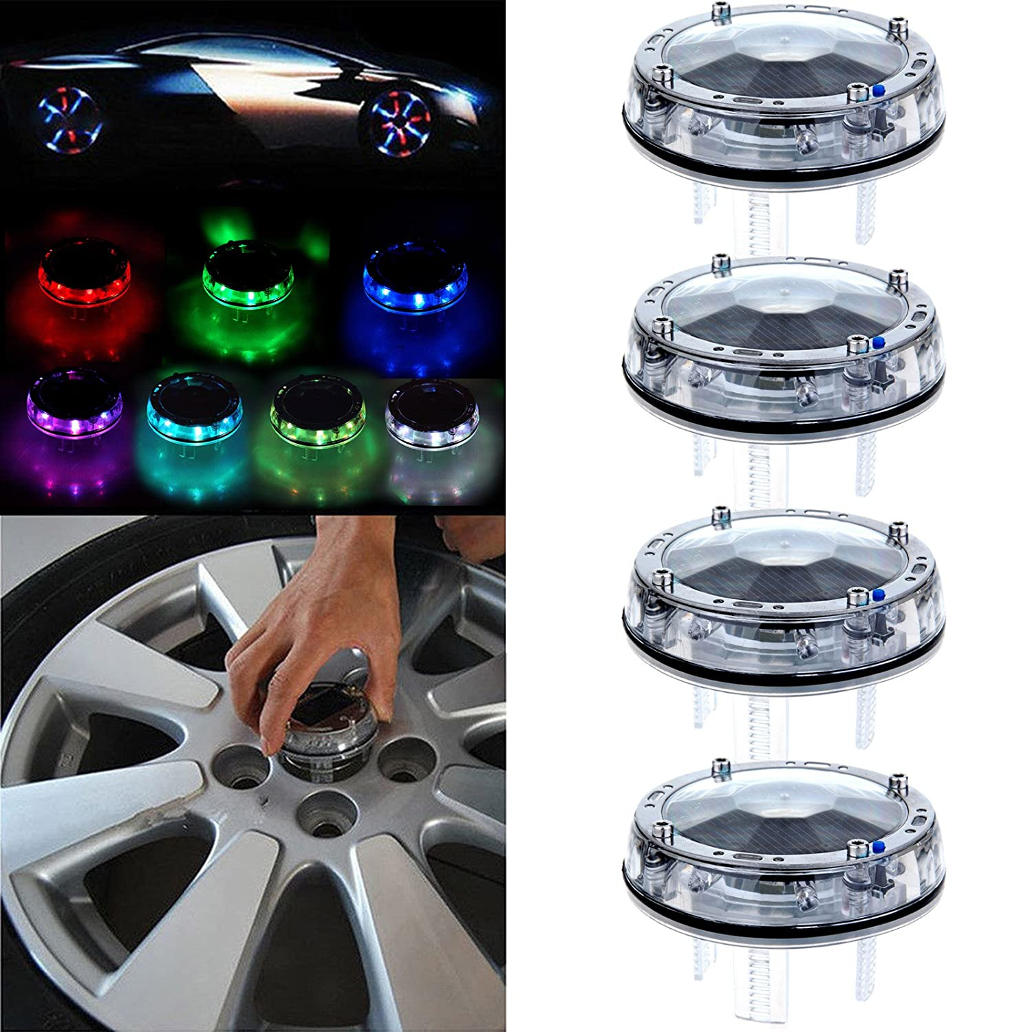 cciyu 4 Pack Car Wheel Rim Light Waterproof Solar Energy LED Flashing Lights Car Tyre Decoration Accessories 800235-5210-1132391