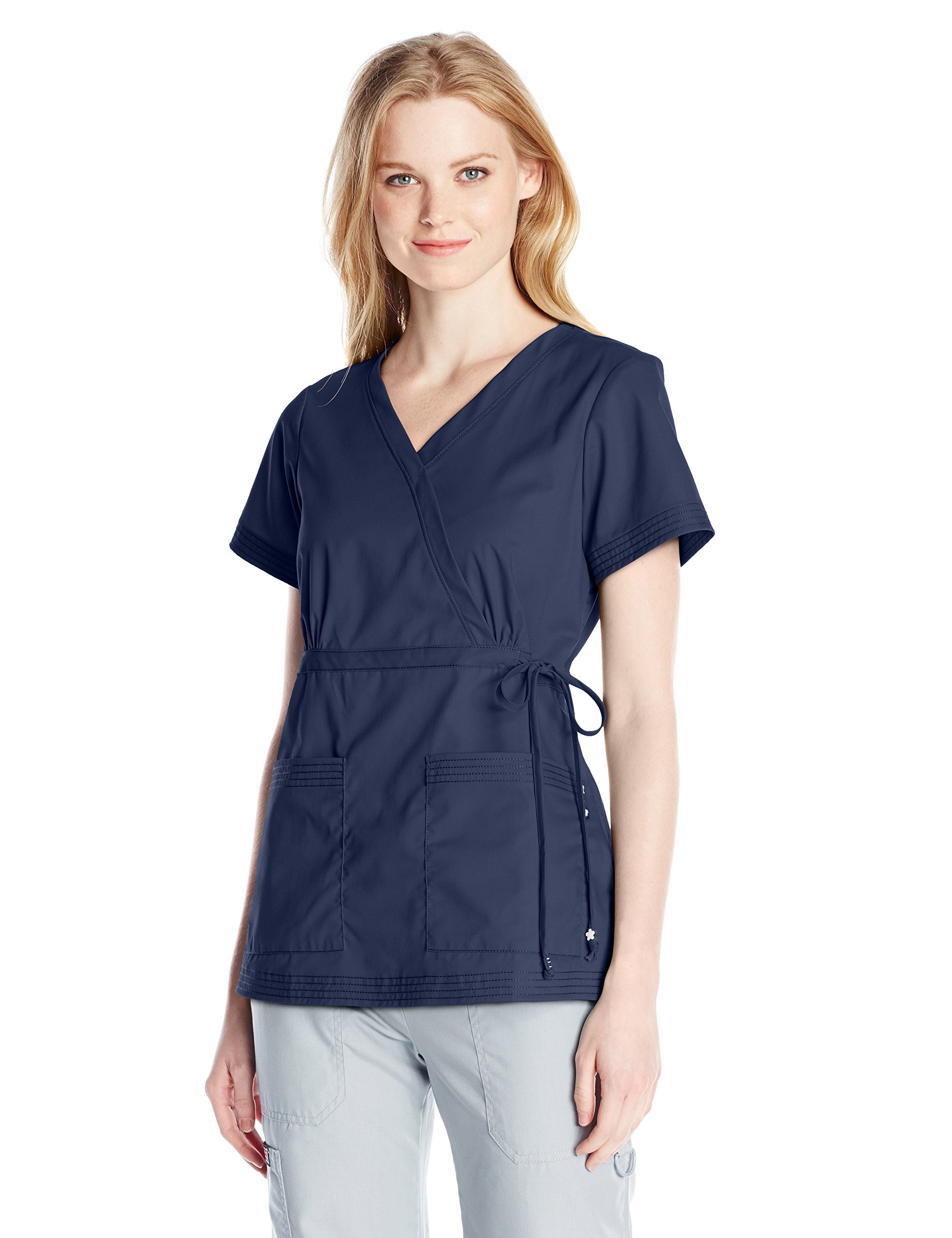 KOI Women's Katelyn Easy-Fit Mock-Wrap Scrub Top with Adjustable Side Tie, Navy, Small