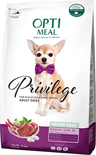 OPtimeal Privilege Grain Free Dry Dog for Mini Small Toy Breeds – Lamb. High Protein Formula with No Grains or Glutens