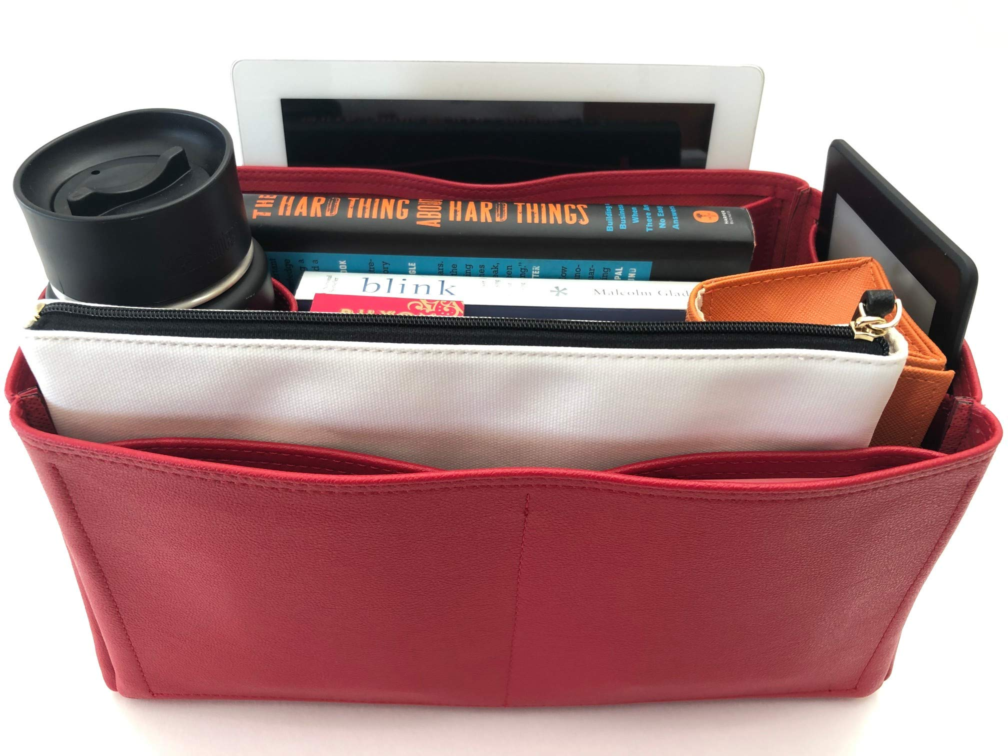 Purse Organizer Insert for LV Graceful Handbag - Fits inside Louis Vuitton Graceful MM bag - Vegan Leather (Red)