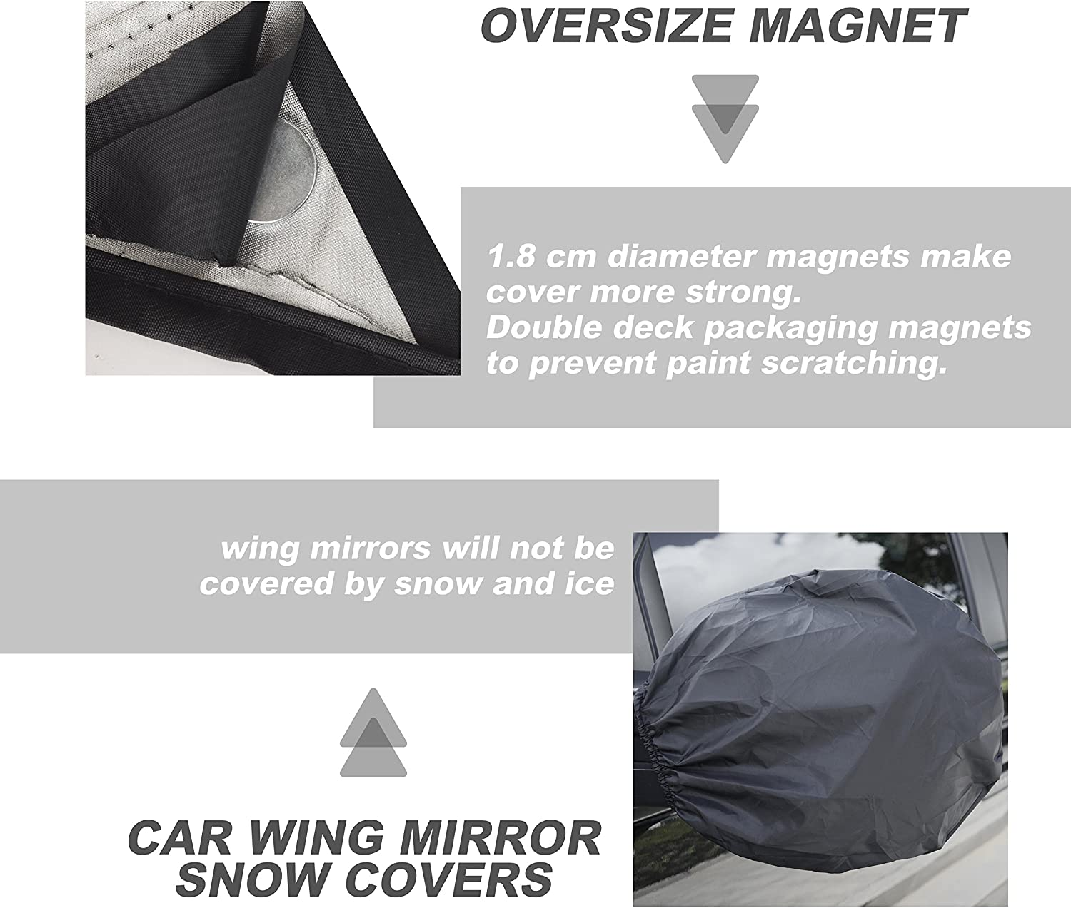 MakTools Car Windshield Snow Cover Extra Large Size for Most Vehicle,96x57with Mirror Snow Covers
