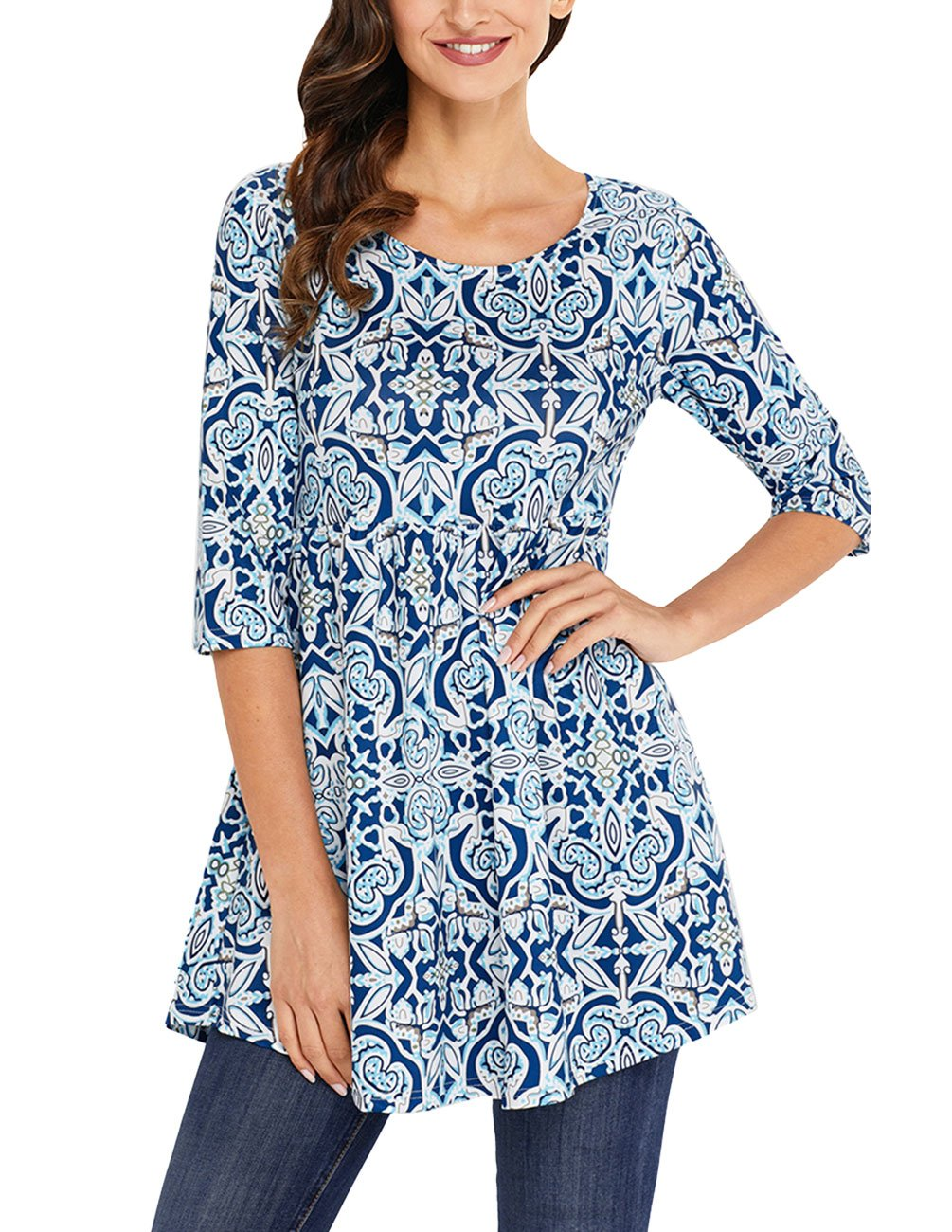 Ray-JrMALL Womens 3/4 Sleeve Roundneck Floral Tunic Tops Loose Blouse Button up Shirts RAYFBMWCTO343-P