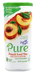 Crystal Light Pure Peach Iced Tea Drink Mix, 10-Quart Canister (4 Canister Pack)