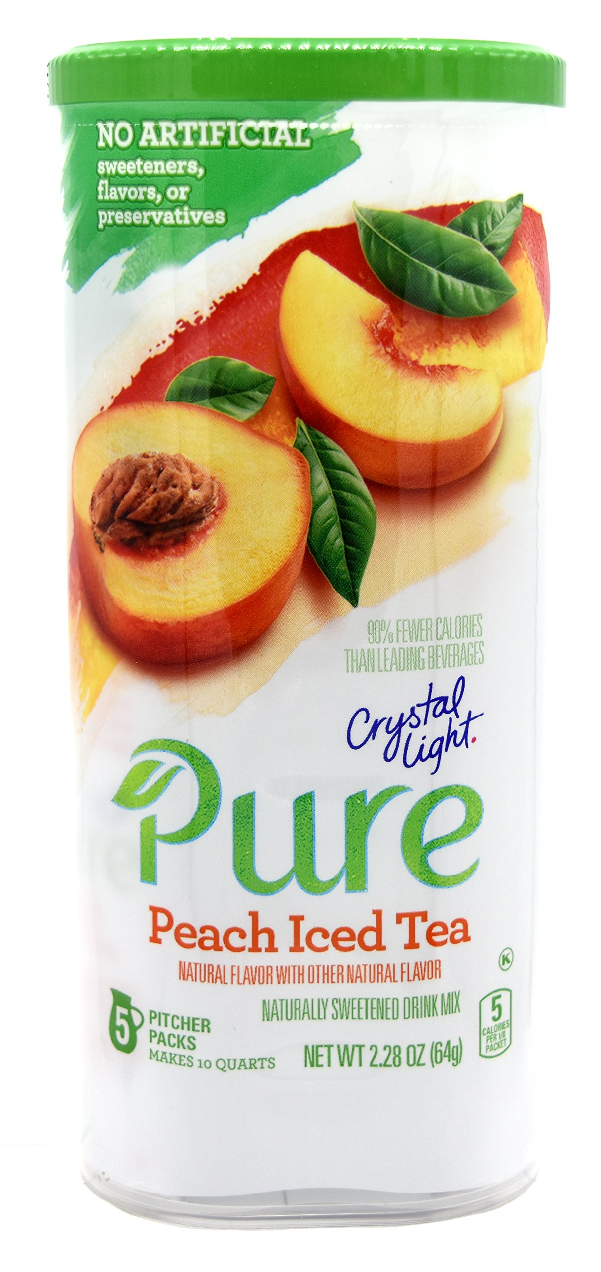 Crystal Light Pure Peach Iced Tea Drink Mix, 10-Quart Canister (10 Canister Pack)