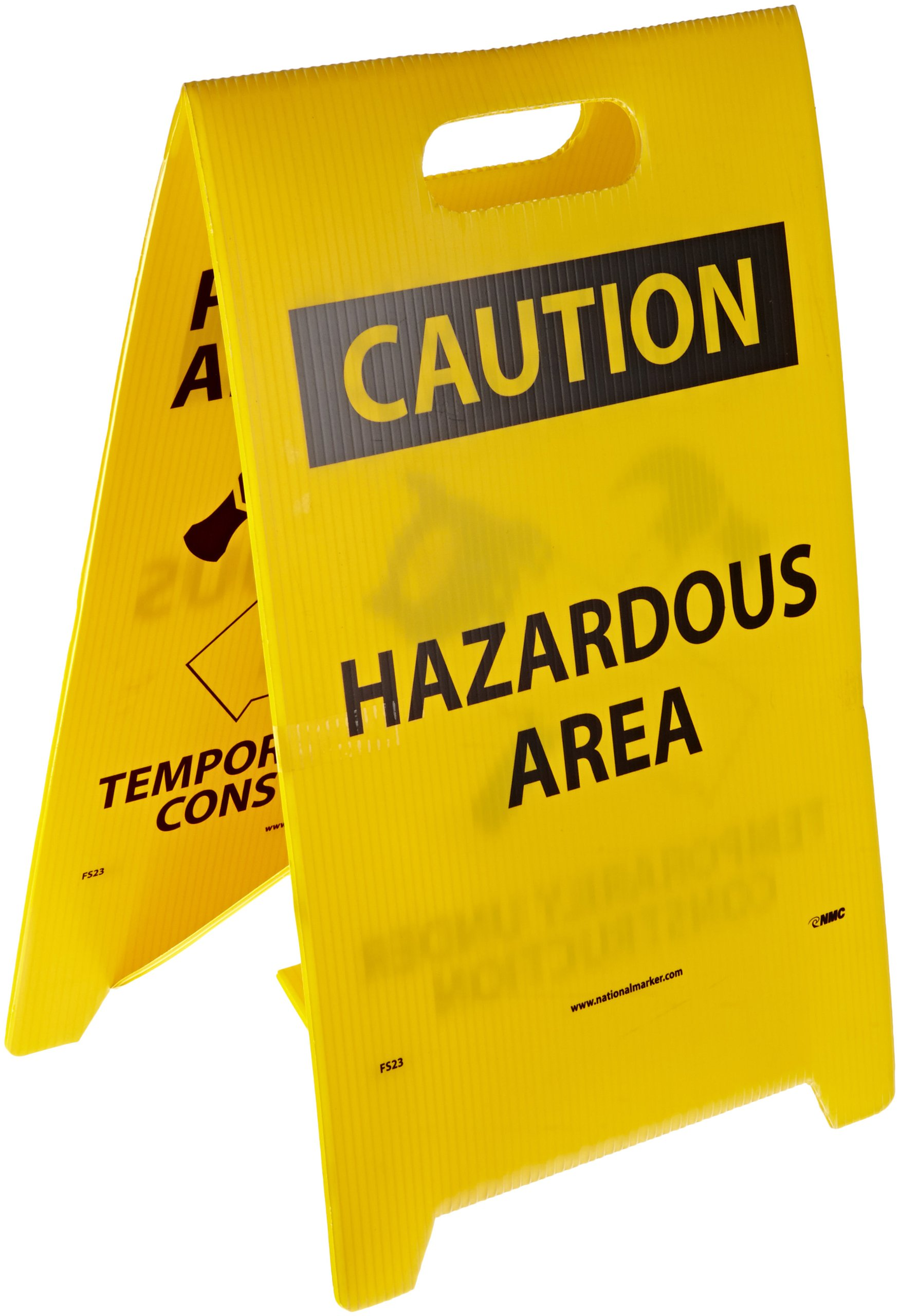 NMC FS23 Double Sided Floor Sign, Legend ''PARDON OUR APPEARANCE TEMPORARILY UNDER CONSTRUCTION CAUTION HAZARDOUS AREA'' with Graphic, 12'' Length x 20'' Height, Coroplast, Black on Yellow