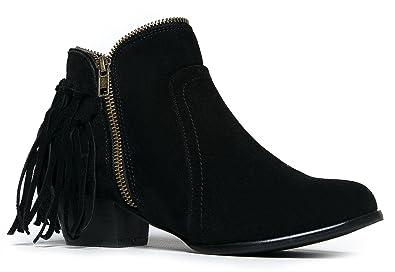 Amazon.com   Low Heel Fringe Ankle Boot- Zipper Closed Toe Western ...