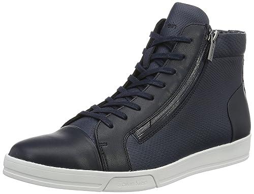 Calvin Klein F1663 - Tobillo bajo de Cuero Hombre, Color Azul, Talla 41 EU: Amazon.es: Zapatos y complementos