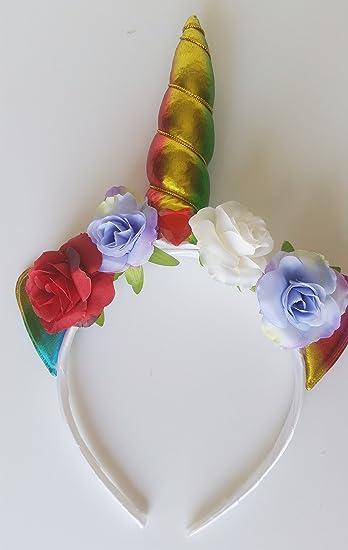 Amazon.com: Unicornio flores diadema, cumpleaños de niña ...