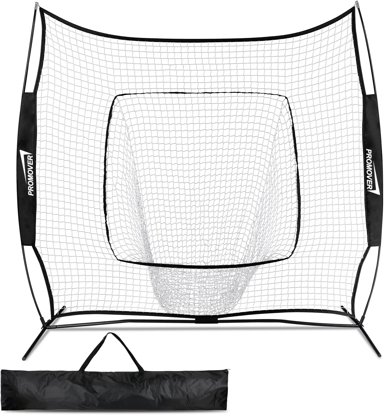 Promover Baseball Softball Practice Net 7 x 7 with Bow Frame Carry Bag Strike Zone for Practice Hitting, Pitching, Batting, Fielding and Catching