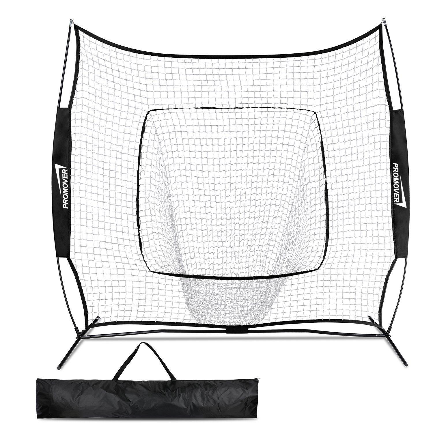 Promover Baseball Softball Practice Net 7' x 7' with Bow Frame Carry Bag for Practice Hitting, Pitching, Batting, Fielding and Catching (Black) by Promover