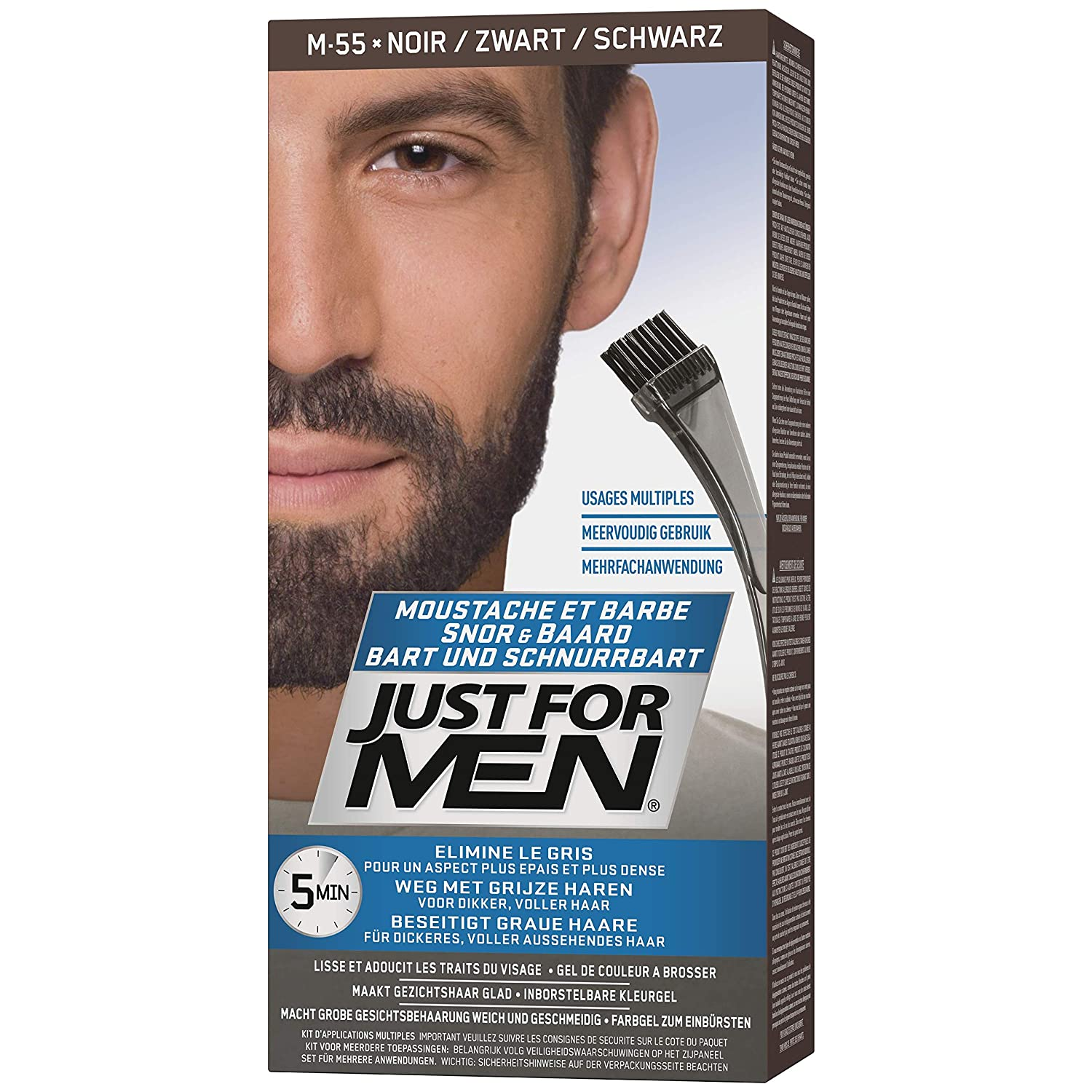 Amazon.com : JUST FOR MEN Color Gel Mustache & Beard M-55 Real Black ...