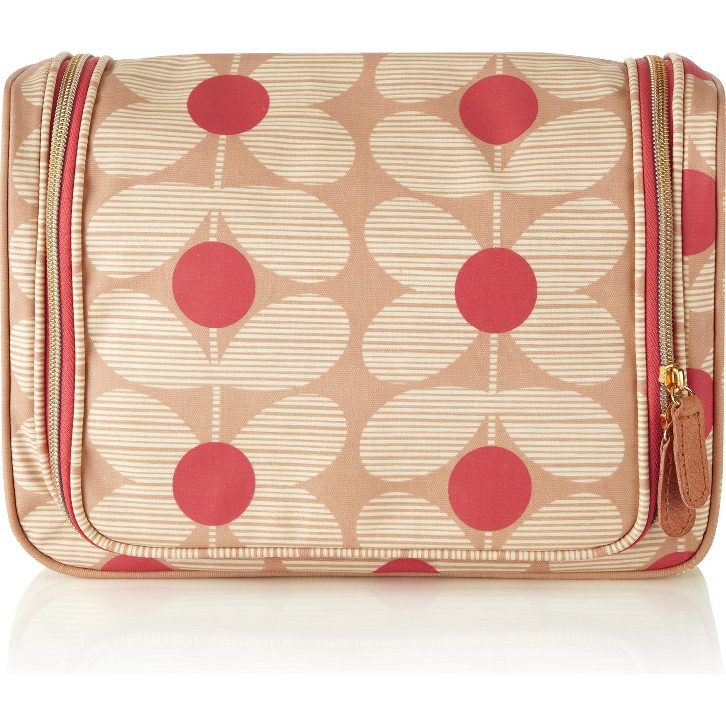 Orla Kiely Sixties Stem Hanging Wash Bag, Beige/Pink