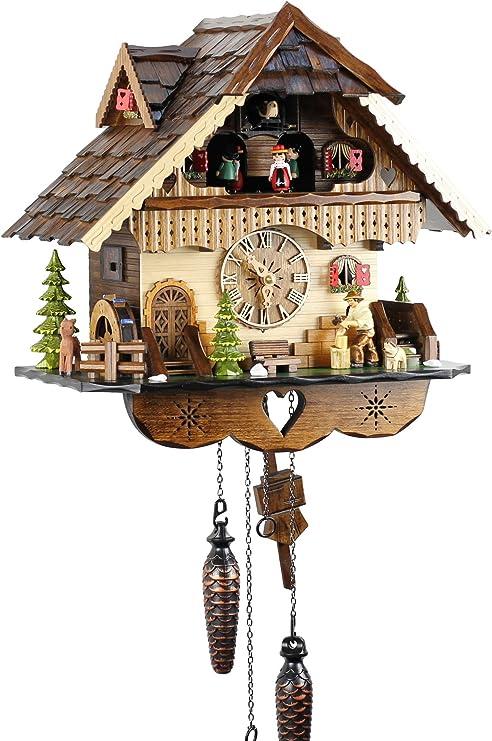 Eble Reloj de cuco de madera auténtica, mecanismo de cuarzo a pilas, música, casita de la Selva Negra, 35 cm, 21449
