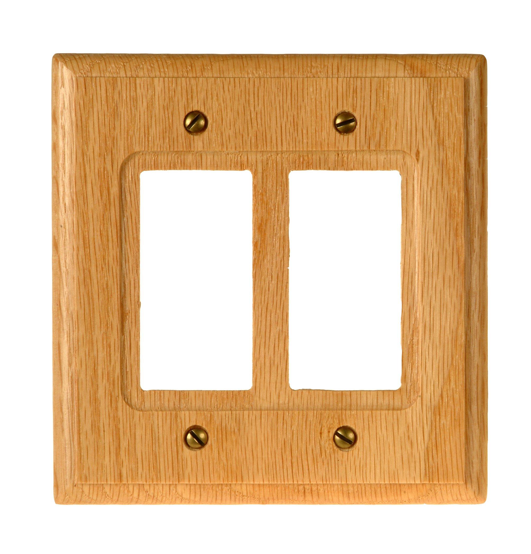 Amerelle 4025RR Traditional Wood Double Rocker/GFCI Wallplate, Light Oak