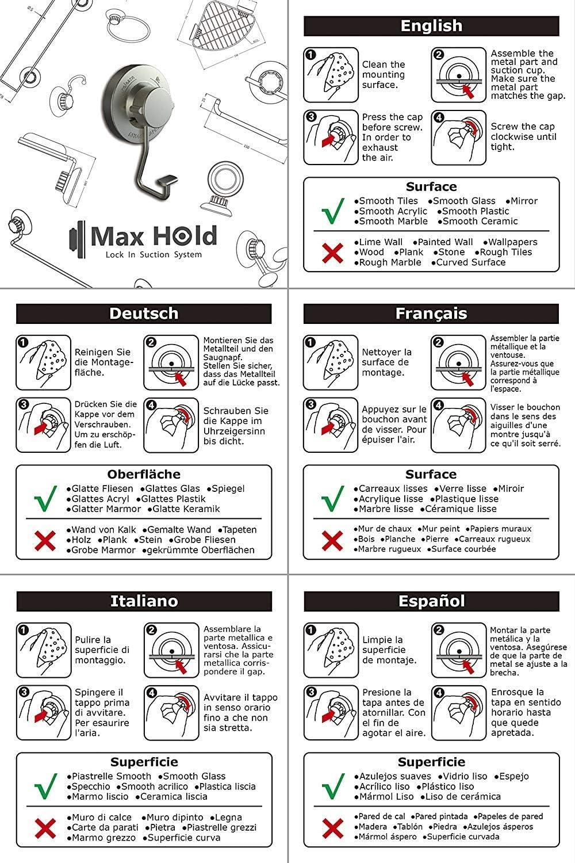 Almacenamiento de la Cocina/&ba/ño No-perforar Acero Inoxidable Nunca Moho MaxHold Sistema de vac/ío Toalleros de aro