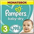 Pampers Baby-Dry Windeln, Gr.3, 6-10kg, Monatsbox, 1er Pack (1 x 198 Stück)