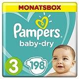 Pampers Baby Dry Windeln, für atmungsaktive Trockenheit, Gr. 3 (6-10 kg), Monatsbox, 1er Pack (1 x 198 Stück)