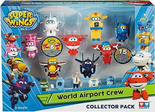 3349316-Super Wings Confezione c Transform-a-Bots World Airport Crew Serie 2