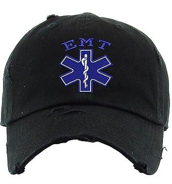 b712ef1129535 Allntrends Adult Dad Hat EMT Embroidered Emergency Medical Technician Cap  Gift (Black)