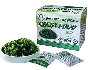 Salted Sea Grapes GREEN FOOD - Dehydrated seaweed - Organic - Umibudo - Green caviar - Caulerpa lentillifera (7.055 OZ /200g of 5 packs)