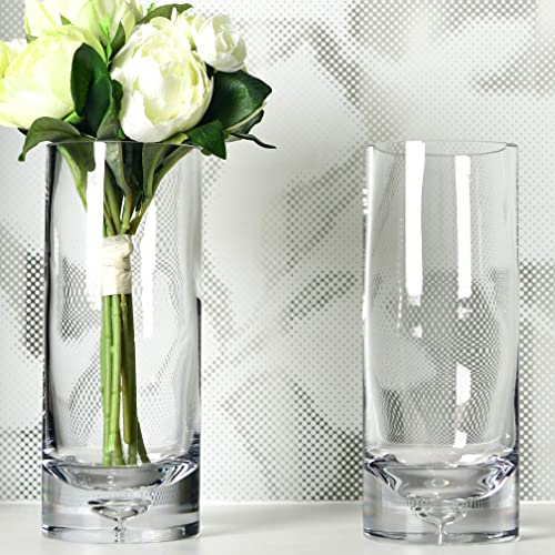 S1EGAN Cylinder Glass Vase, Set of Two,10 Inch Clear Elegant Hand Blown Bubble Base Tall Glass Vases, for Weddings, Centerpiece, Events and Living Room Office Decoration 10 Inch