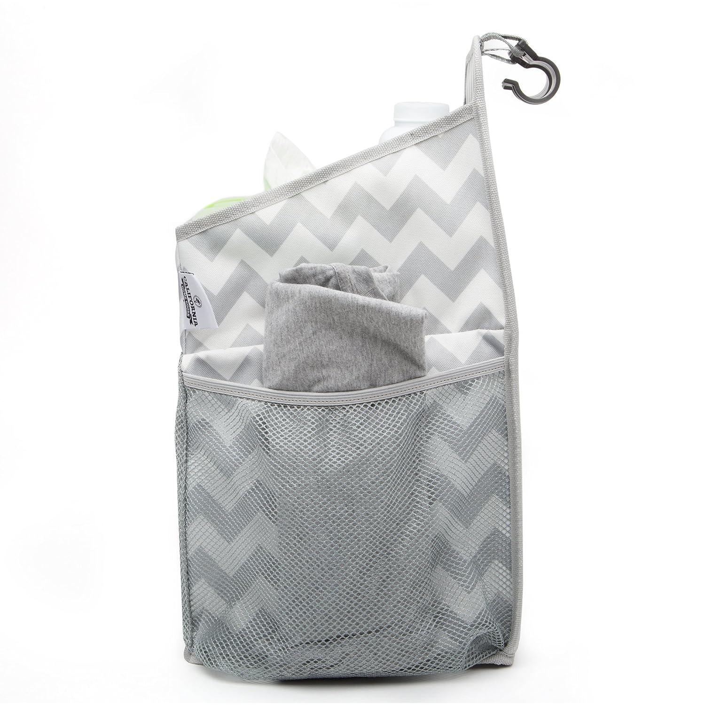 Chevron Pattern California Home Goods Playard Diaper Caddy and Nursery Organizer for Newborn Baby Essentials Grey and White Baby Accessory Organizer CHG-BDC