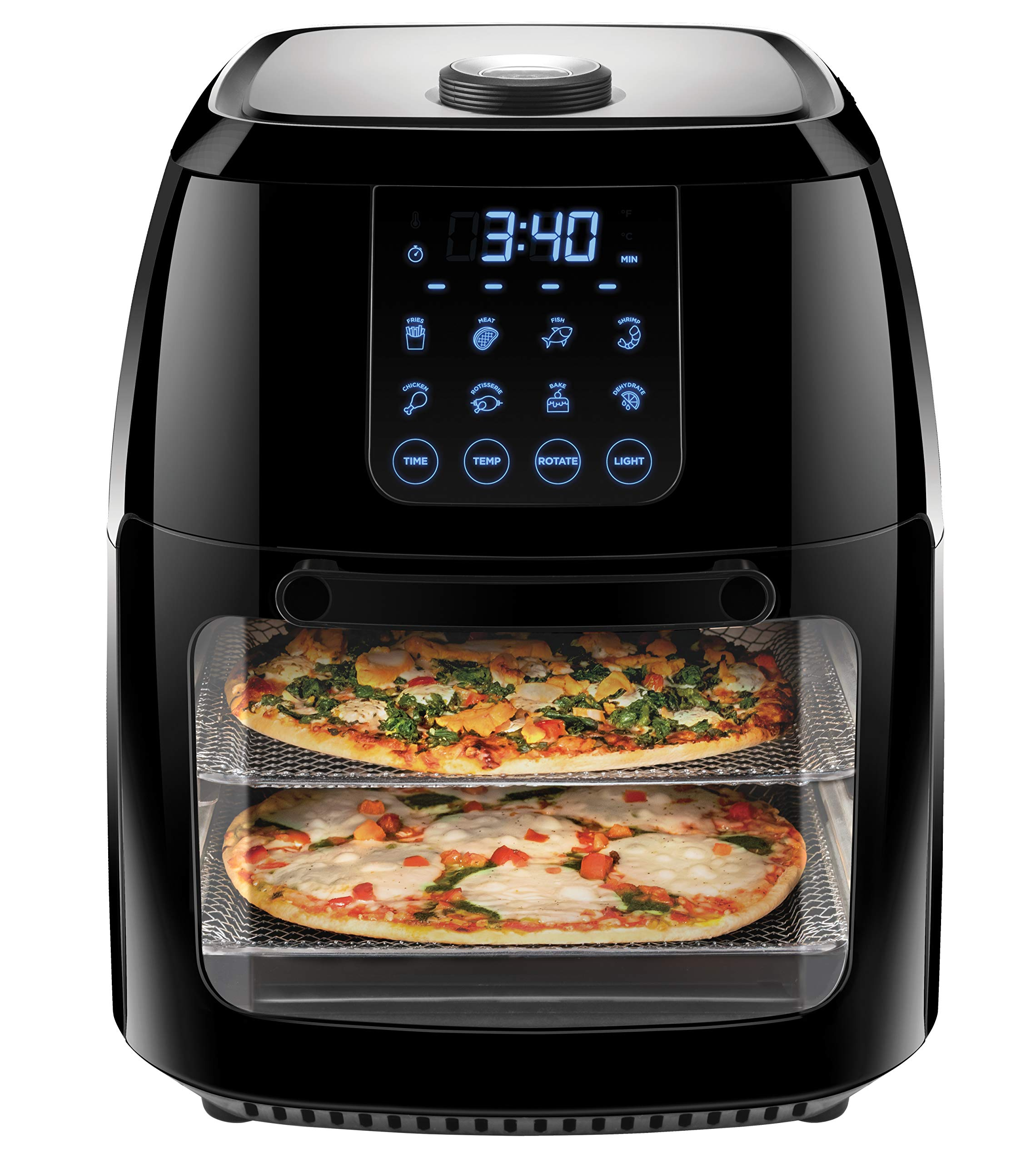 Chefman 6.3 Quart Digital Air Fryer+ Rotisserie, Dehydrator, Convection Oven, 8 Presets to Fry, Roast, Dehydrate & Bake, BPA-Free, Auto Shut-Off, Accessories & Cookbook Included, XL Family Size, Black by Chefman