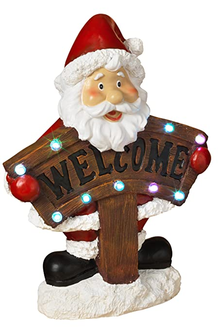 lighted holiday santa and snowman decorations with welcome sign outdoor christmas decoration santa