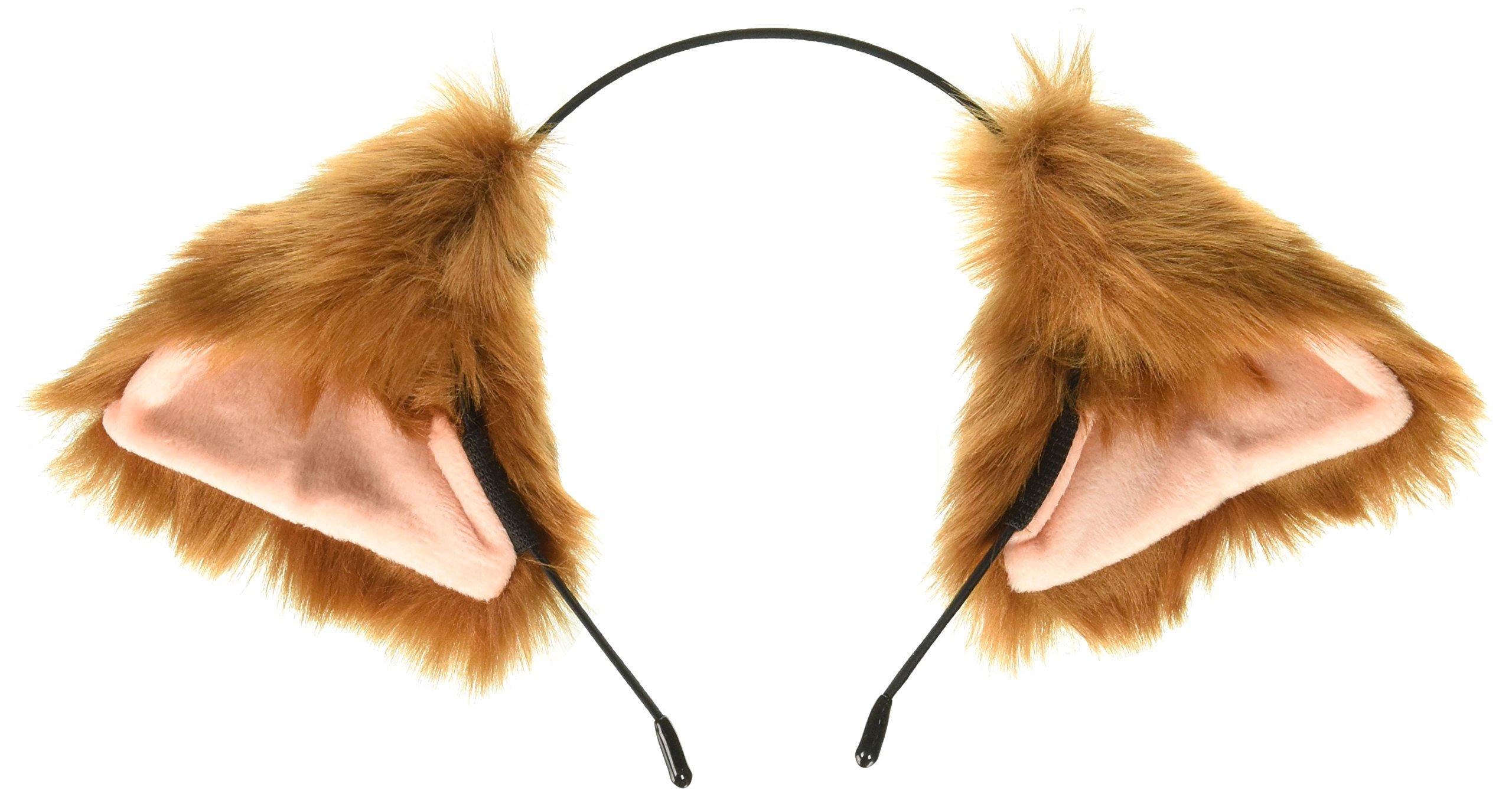 5054ff89b Cutegirl Cat Fox Ears Long Fur Hair Headband Anime Cosplay Party Costume  Brown and Champagne