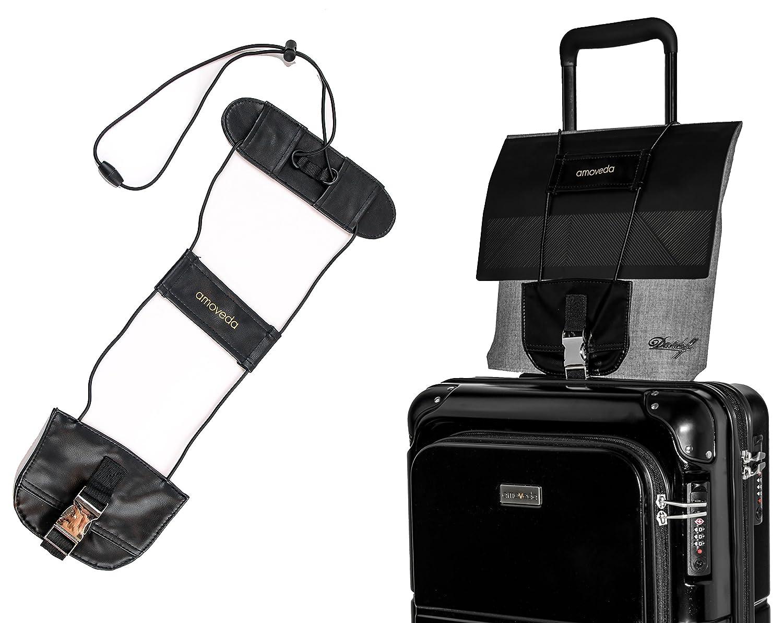 Amoveda Bungee Gepäckriemen mit elastischen Gurten für Tasche auf Trolley Koffern Neu Premiumversion: Leder & Metallschnalle
