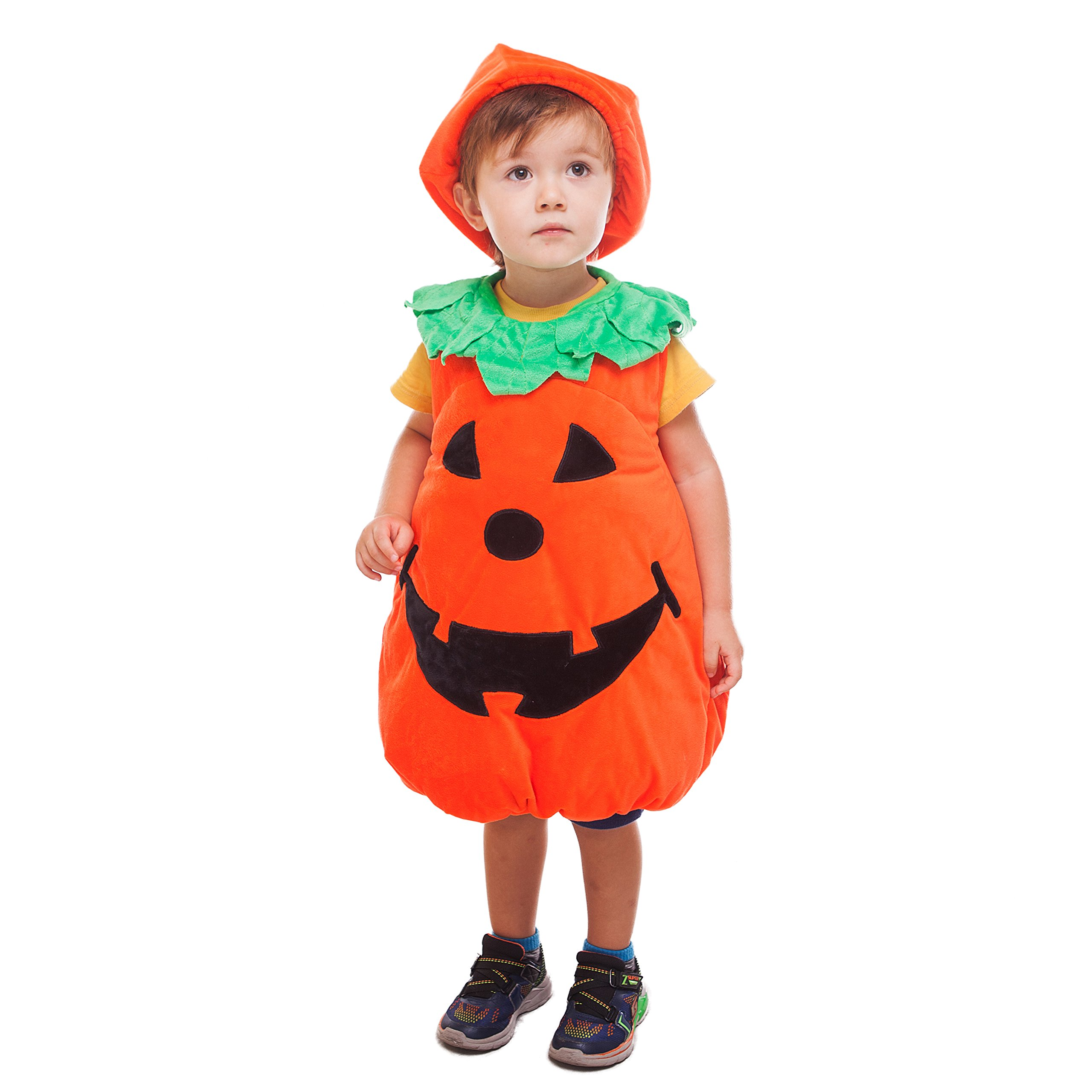 WEWILL Halloween Orange Pumpkin Patch Cutie Unisex Costume Set for Party Children Clothing Fancy Dress Up 5-6year