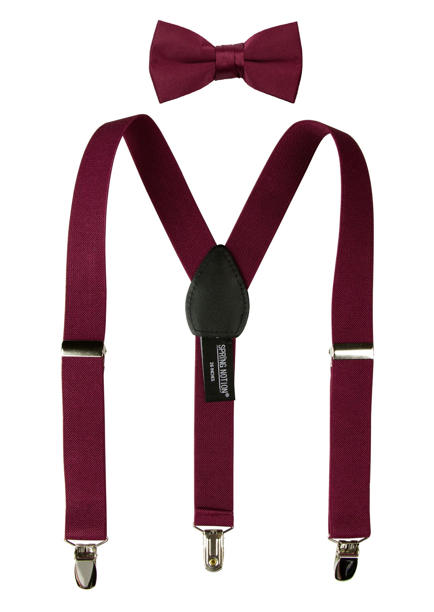 Spring Notion Boys' Suspenders and Solid Color Bowtie Set Burgundy Medium