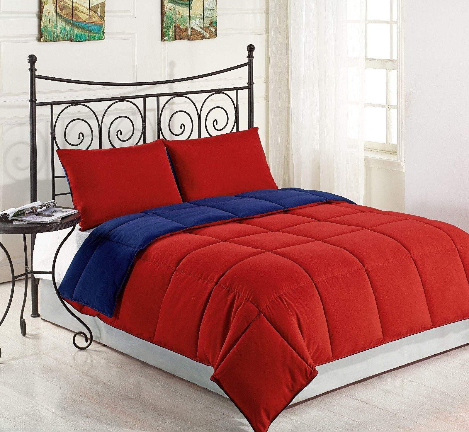 Fenesta Décor 100 % Egyptian Cotton Reversible Comforter With 2 Matching Pillow shams Set Full/Queen (Blood Red/ Royal Blue)