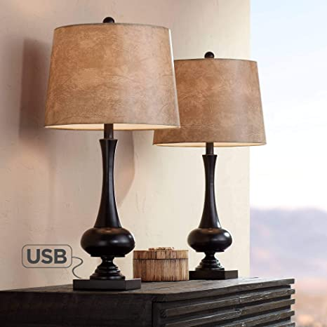 Ross Modern Mid-Century Modern Lamps Set of 2 with USB ...