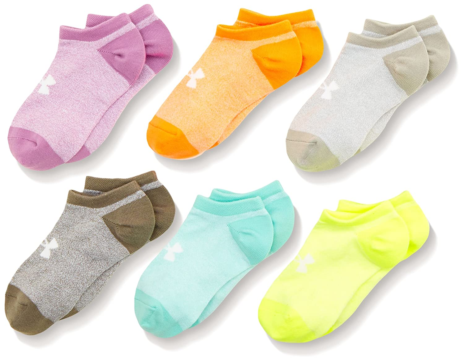 Under Armour Girls' Solid Noshow Socks (Pack of 6) Assorted Large 1312604-970