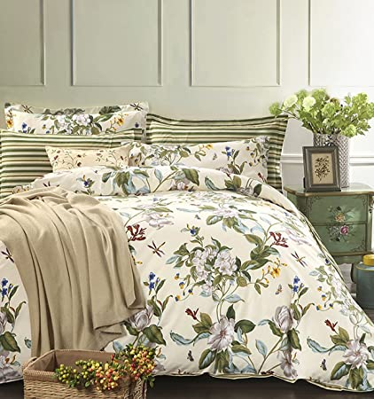 Cottage Country Style 3 Piece Duvet Cover Set Multicolored Roses Peonies Bouquet 100 Percent Cotton