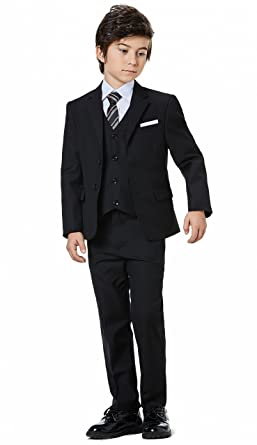 Boys Classic Formal Dress Suits Set 5 Piece Slim Fit Dresswear Suit (4 05d39b7041c0