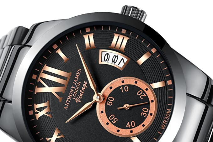 Anthony James Vintage | Diseñador de hombres de acero inoxidable relojes hombres de lujo a prueba