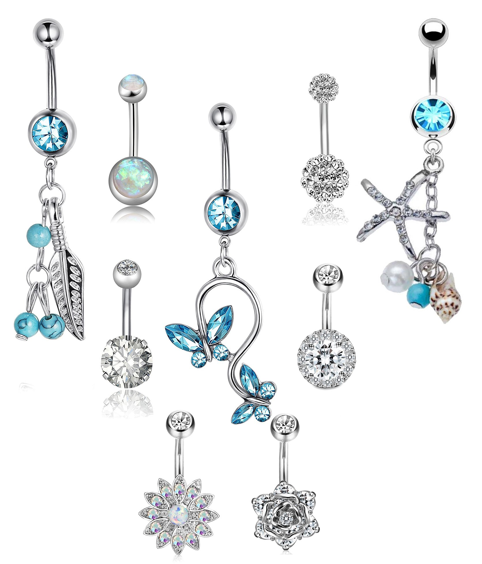 LOLIAS 9 Pcs 14G Belly Button Rings for Women Girls Navel Barbell Rings Body Piercing Jewelry RG