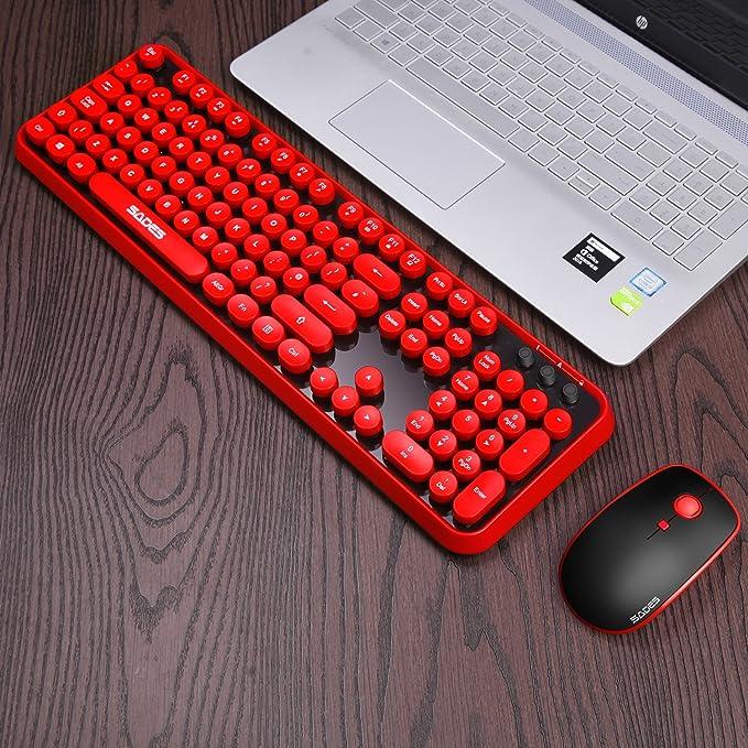 Teclado y ratón inalámbricos Reino Unido, conexión SADES V2020 2.4 GHz, encantadora tecla redonda, juego de teclado y ratón de tamaño completo ...