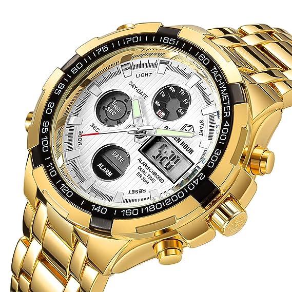 Affute Militar analógico Digital Display Hombres Relojes multifunción alarma luminosa impermeable reloj de pulsera para hombres con banda de oro esfera ...