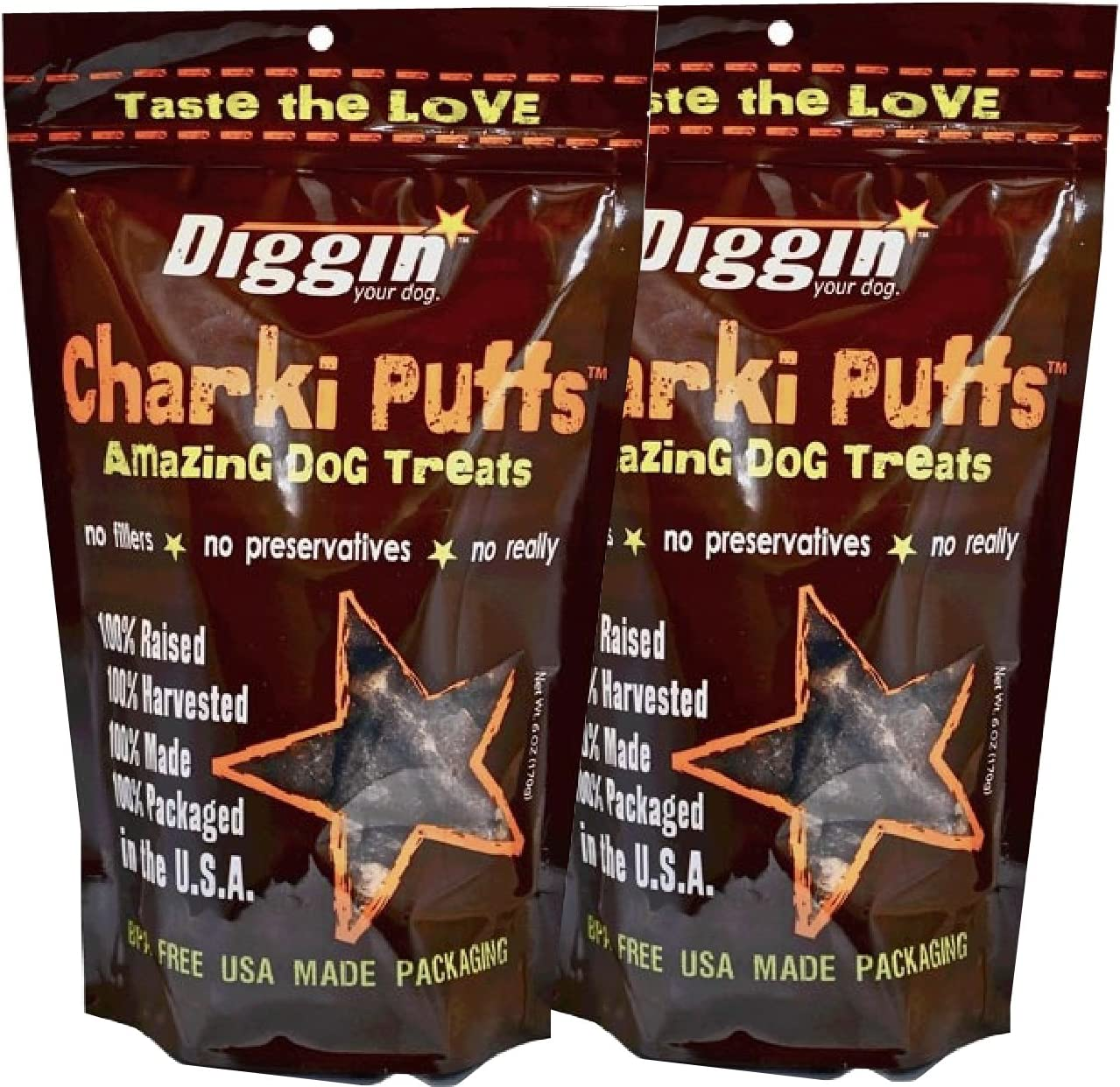 2-Pack Diggin Your Dog Charki Puffs Amazing Dog Treats