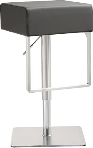 Tov Furniture Seville Stainless Steel Barstool, Grey