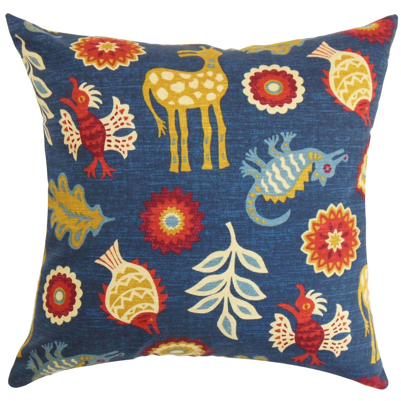 Blue The Pillow Collection Derain Floral Pillow