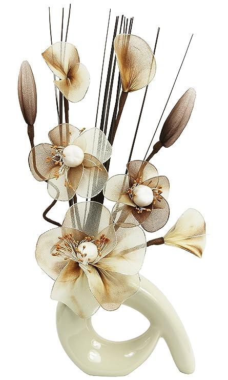 Amazon Flourish 793456 Qh1 Cream Vase With Cream And Brown