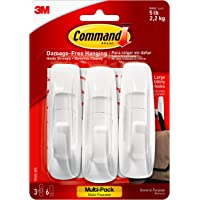 Command by 3M Wall Hooks, White, Easy On, Easy Off, 7 Hooks, Value Pack