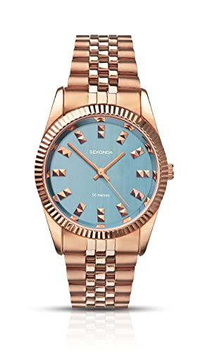 ca5251c83c Sekonda Women's Quartz Watch with Blue Dial Analogue Display and Rose Gold  Stainless Steel Bracelet 2090.27: Babar: Amazon.co.uk: Watches